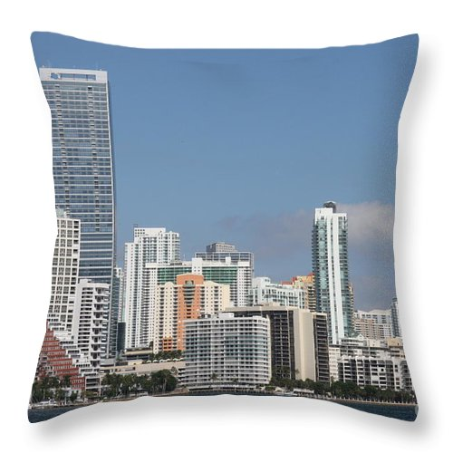 Miami Throw Pillow featuring the photograph Skyline Miami by Christiane Schulze Art And Photography