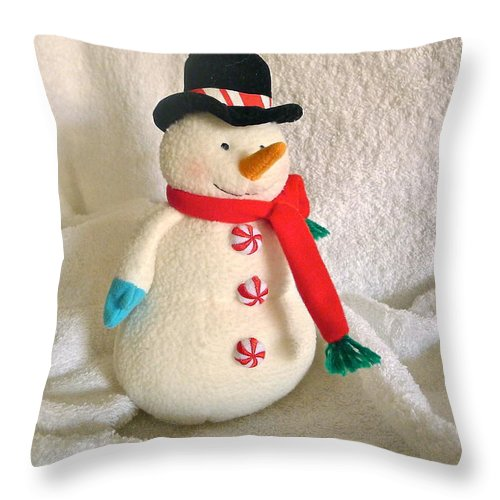 Snowman Throw Pillow featuring the photograph Snowman by Denise Mazzocco