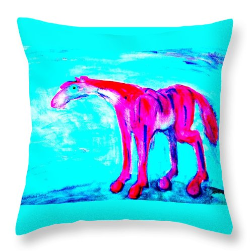 Horse Throw Pillow featuring the painting I Am So Lonely I Could Die But I Will Not by Hilde Widerberg