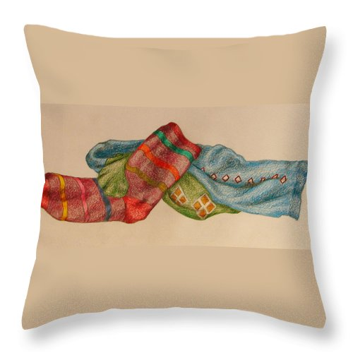 Drawing Throw Pillow featuring the drawing Socks 1 by Lew Davis
