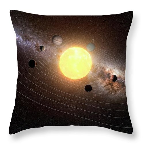 Black Background Throw Pillow featuring the digital art Solar System, Artwork by Sciepro
