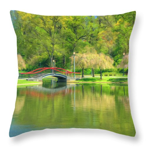 Lakes Throw Pillow featuring the photograph Springtime Reflections by Geoff Crego