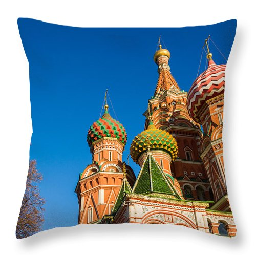 Architecture Throw Pillow featuring the photograph St. Basil's Cathedral by Alexander Senin