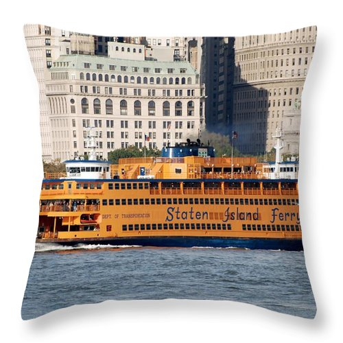 Harbor Throw Pillow featuring the photograph Staten Island Ferry by Rob Hans