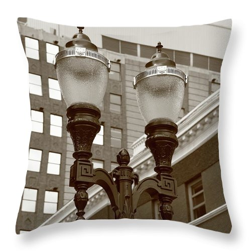 Antique Throw Pillow featuring the photograph Streetlights - Lansing Michigan by Frank Romeo