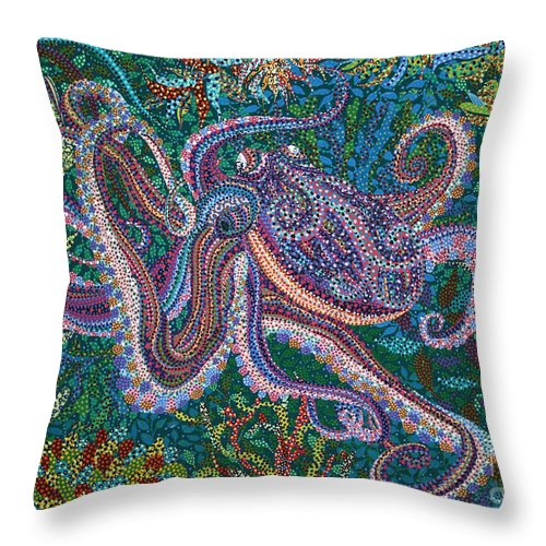 Stroling Throw Pillow featuring the painting Strolling by Erika Pochybova