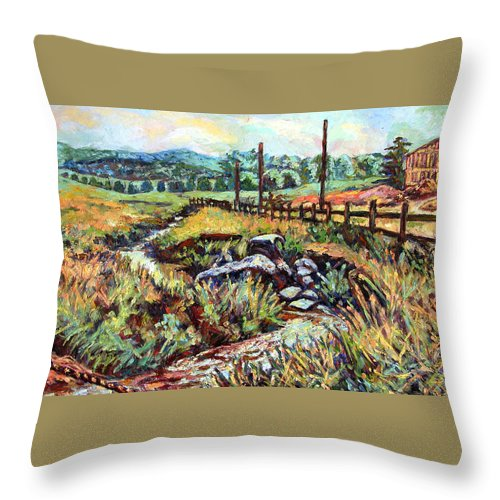 Landscape Paintings Throw Pillow featuring the painting Stroubles Creek by Kendall Kessler