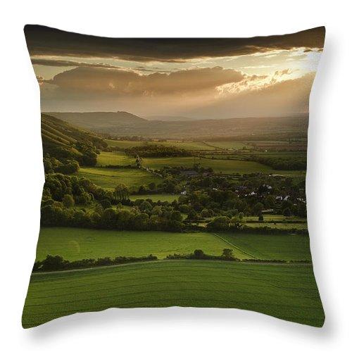 Sunset Throw Pillow featuring the photograph Stunning Summer Sunset Over Countryside Escarpment Landscape by Matthew Gibson