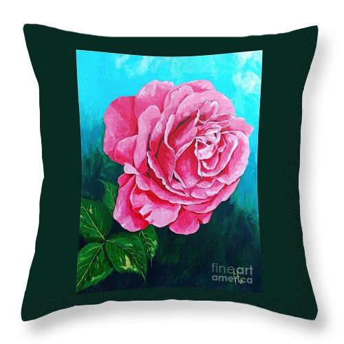 Red Rose Pink Rose Throw Pillow featuring the painting Summer Rose by Herschel Fall