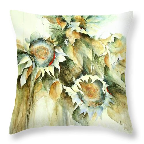 Sunflower Painting Throw Pillow featuring the painting Sunflowers V by Madeleine Holzberg