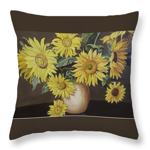 Flowers Throw Pillow featuring the painting Sunshine And Sunflowers by Wanda Dansereau