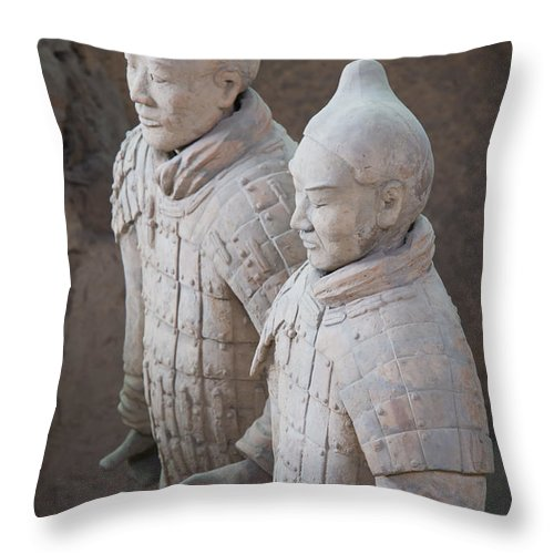 Archeology Throw Pillow featuring the photograph Terracotta Warriors, China by John Shaw