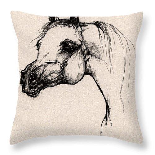 Arabian Horse Throw Pillow featuring the drawing The Arabian Horse by Angel Ciesniarska