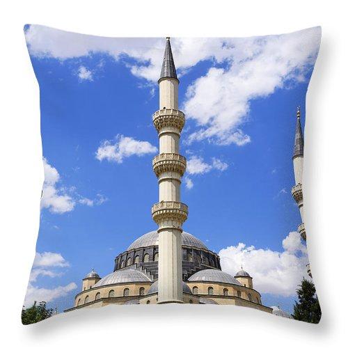 Azadi Throw Pillow featuring the photograph The Azadi Mosque At Ashgabat In Turkmenistan by Robert Preston