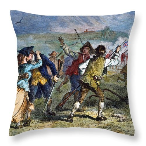 1775 Throw Pillow featuring the photograph The Battle Of Concord, 1775 by Granger