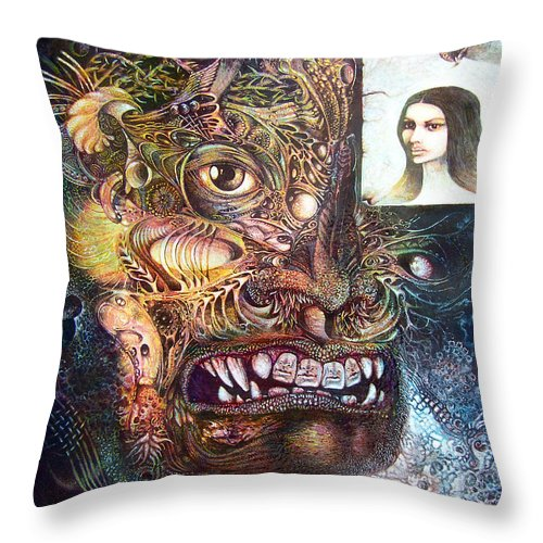 Mythology Throw Pillow featuring the painting The Beast Of Babylon by Otto Rapp