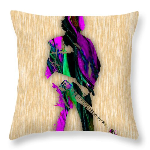 Bruce Springsteen Art Throw Pillow featuring the mixed media The Boss Bruce Springsteen by Marvin Blaine