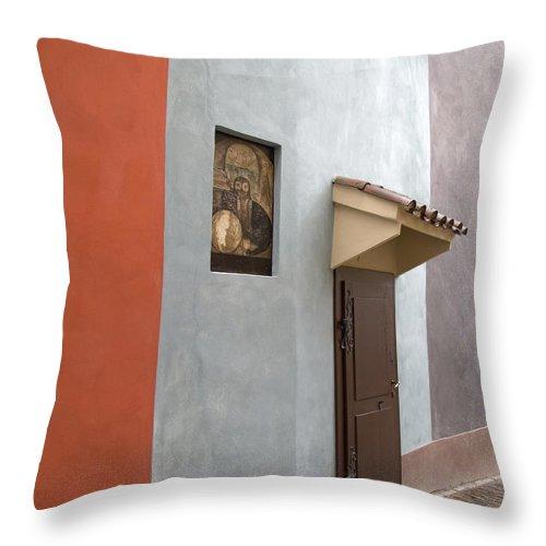 Prague Throw Pillow featuring the photograph The Brown Door by Ann Horn