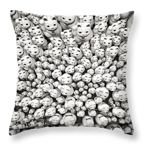 Cat Temple Throw Pillow featuring the photograph The Cat Temple In Tokyo by For Ninety One Days