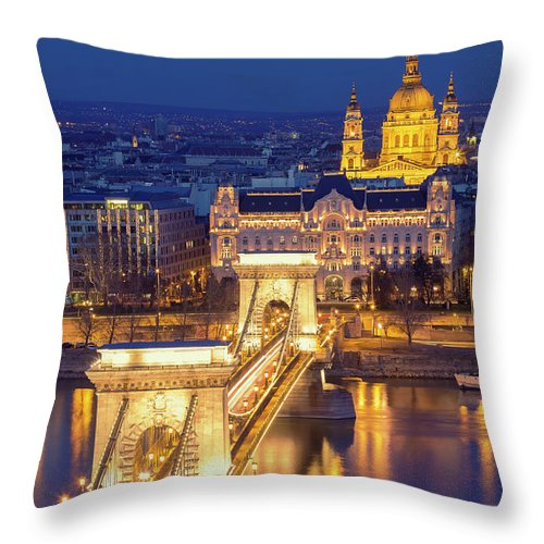 Viewpoint Throw Pillow featuring the photograph The Chain Bridge In Budapest by Ultraforma