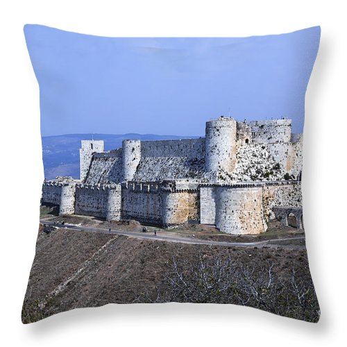 Krak Des Chevaliers Throw Pillow featuring the photograph The Crusader Castle Krak Des Chevaliers Syria by Robert Preston