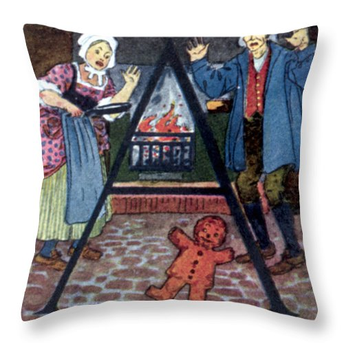 Boy Throw Pillow featuring the drawing The Gingerbread Boy by Granger