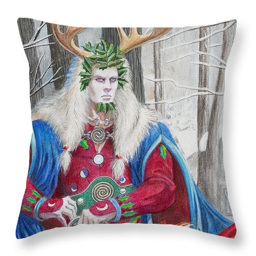 Pagan Throw Pillow featuring the painting The Holly King by Melissa A Benson