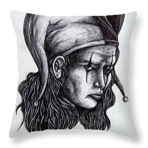 The Jester Throw Pillow featuring the drawing The Jester by Michael TMAD Finney
