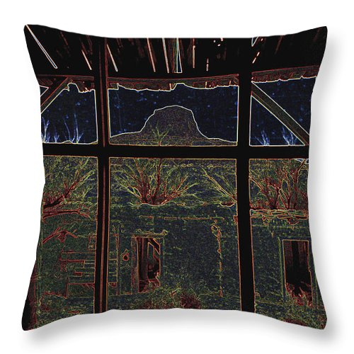 The Lonely Trail Homage 1936 Cabezon Peak Ghost Town Cabezon New Mexico 1971 Throw Pillow featuring the photograph The Lonely Trail Homage 1936 Cabezon Peak Ghost Town Cabezon New Mexico 1971 by David Lee Guss