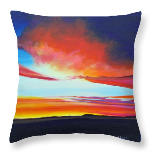 Landscape Throw Pillow featuring the painting The Long Way Home by Hunter Jay