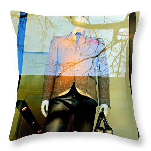 Mannequin Throw Pillow featuring the photograph The Office by Diana Angstadt