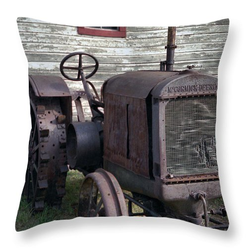 Farm Tractor Throw Pillow featuring the photograph The Old Mule by Richard Rizzo