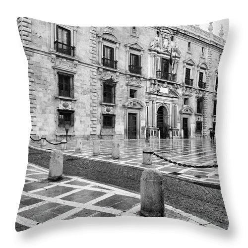 Monochrome Throw Pillow featuring the photograph The Royal Chancery Of Granada by Guido Montanes Castillo