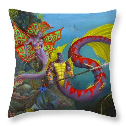 Mermaid Throw Pillow featuring the painting The Threat by Melissa A Benson