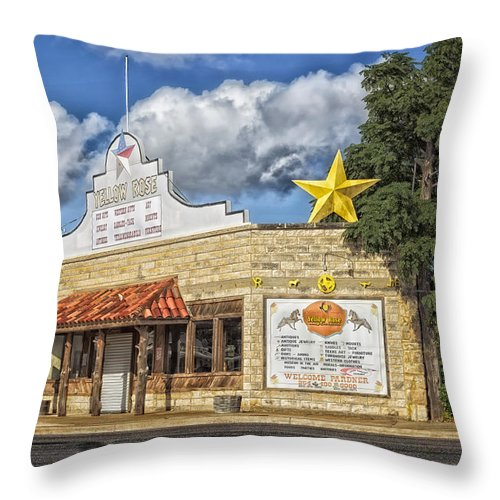 Yellow Rose Throw Pillow featuring the photograph The Yellow Rose Of Crawford Texas by Mountain Dreams