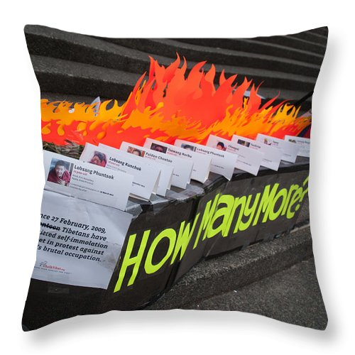 Canada Throw Pillow featuring the digital art Tibetan Protest March by Carol Ailles