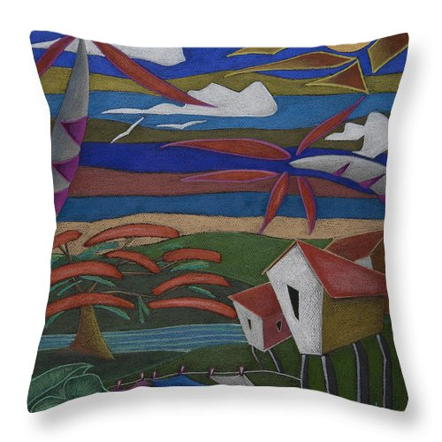 Whimsical Throw Pillow featuring the painting Tiempos Y Remembranzas by Oscar Ortiz