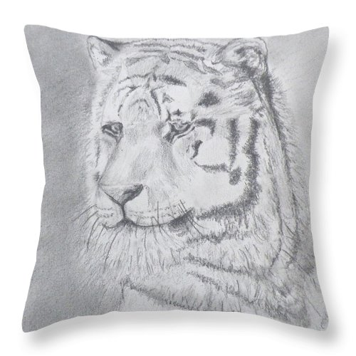 Animals Throw Pillow featuring the drawing Tiger Watching by Gilbert Pennison
