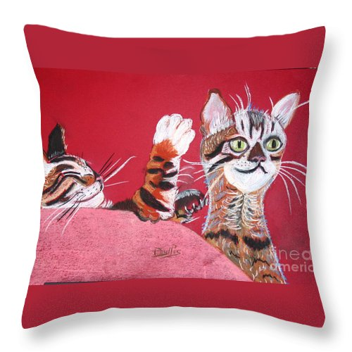 2 Bengal Cats. Red Background Throw Pillow featuring the pastel 2 Tora's by Phyllis Kaltenbach