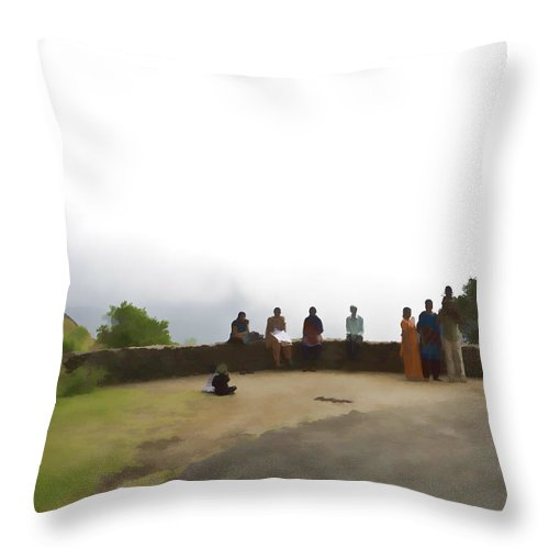 Child On Father's Shoulders Throw Pillow featuring the digital art Tourists Posing For Photos by Ashish Agarwal
