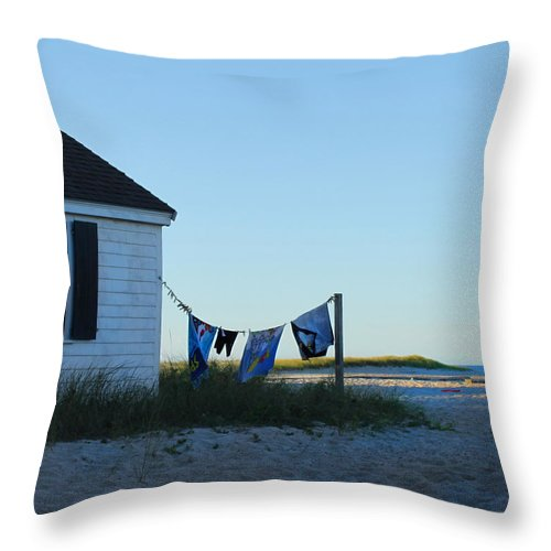 Beach Throw Pillow featuring the photograph Towels On The Line by Beth Johnston