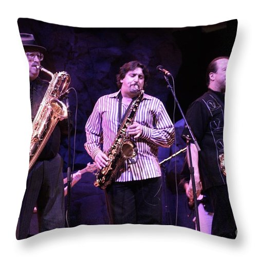 Brass Throw Pillow featuring the photograph Tower Of Power by Concert Photos