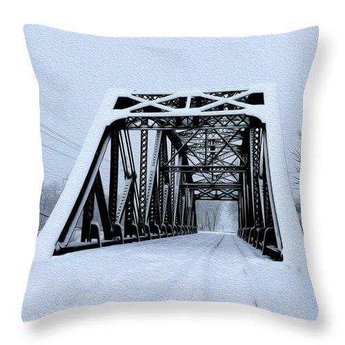 Train Bridge Throw Pillow featuring the photograph Train Bridge by Tracy Winter