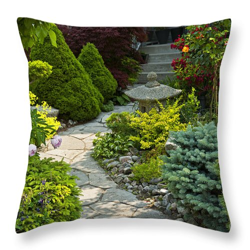 Landscaping Throw Pillow featuring the photograph Tranquil Garden by Elena Elisseeva
