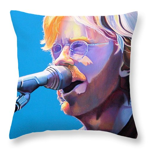 Phish Throw Pillow featuring the drawing Trey Anastasio by Joshua Morton