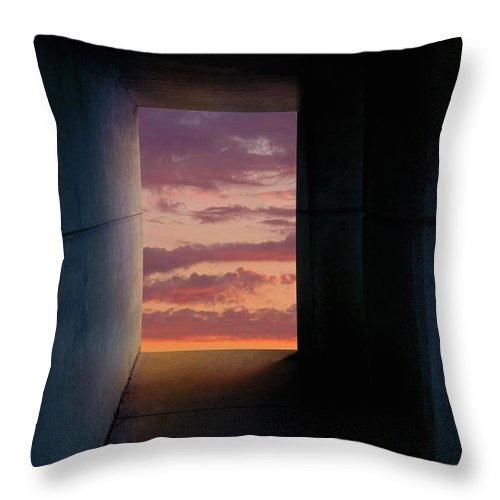 Light At The End Of The Tunnel Throw Pillow featuring the photograph Tunnel With Light by Melinda Fawver