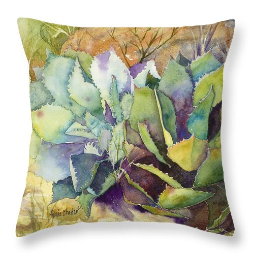 Agave Throw Pillow featuring the painting Two Fat Agaves - 140 Lb by Renee Chastant