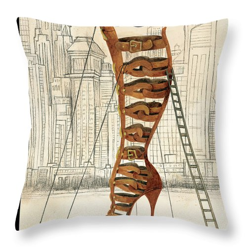 Fashion Throw Pillow featuring the painting New Yorker March 25th, 2013 by Ana Juan