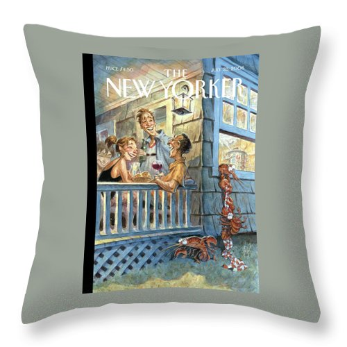 By Peter De Seve Throw Pillow featuring the painting New Yorker July 28th, 2008 by Peter de Seve