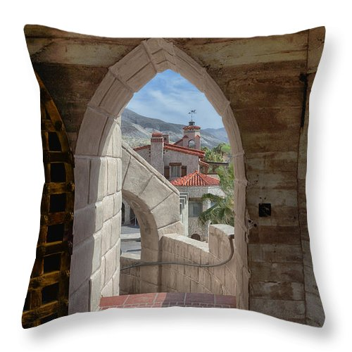 Architecture Throw Pillow featuring the photograph View To A Different Time by Sandra Bronstein